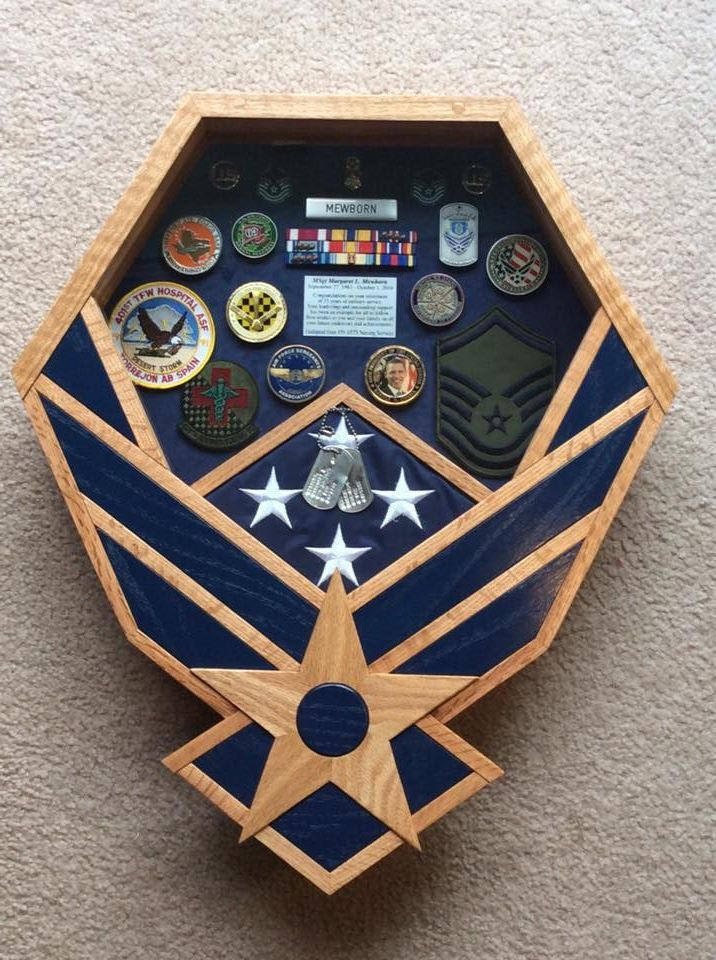 Handcrafted Air Force Shadow Box Oak & Blue Inlays the
