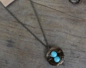 Bird Nest Necklace - Two Turquoise Eggs Bronze Nest