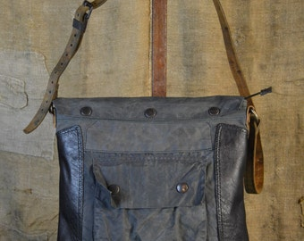 "UPCYCLED OILSKIN BAG from vintage elements - Handmade in Italy Eco-friendly style ""Salou Cerato"""