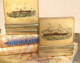 Pair Borghese Sailing Ships Bookends Nautical Vintage Beach Ocean Boating Decor, Mid-century Home Library Office, Father's Day, Gift For Him