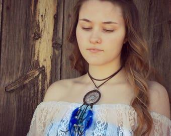 Dream catcher necklace, aquamarine blue dream catcher choker, leather choker, women choker trends, real feather necklace, boho necklace