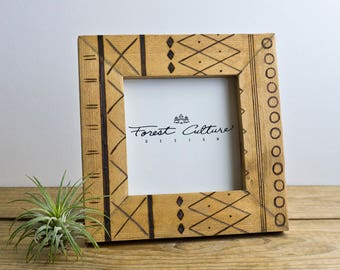 4x4 Picture Frame   Moroccan Inspired Geometric Woodburned Frame