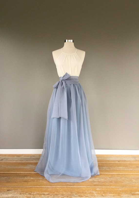 Two toned Chiffon Skirt, (platinum over bluestone) Bridesmaid skirt, floor length, tea length, knee length empire