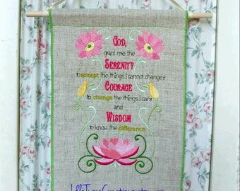 serenity prayer wall hanging embroidered banner wall art home decor office