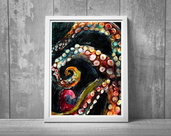octopus art, tentacles, octopus gift, large wall art, nautical art print, mixed media, coastal decor, husband gift, for him,  8x10