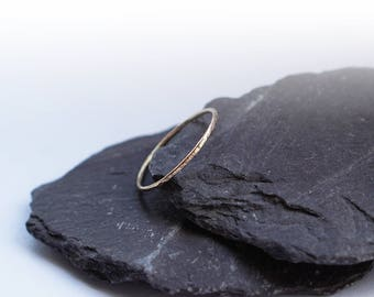 Hammered 9ct Solid Gold Skinny Stacking Ring ~ stacking ring, gold, pure gold, yellow gold, gold band, stackable, wedding