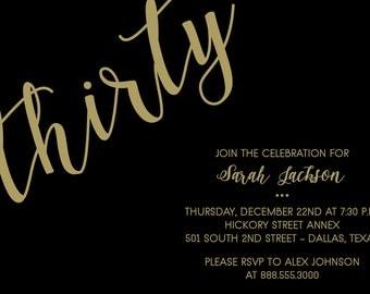 Thirtieth Birthday Invitation