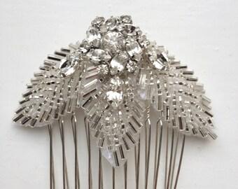 "Bridal Hair Comb ""Primrose"" Vintage Style - Beaded - Crystal - Bridesmaid - Wedding Comb - Bridesmaid"