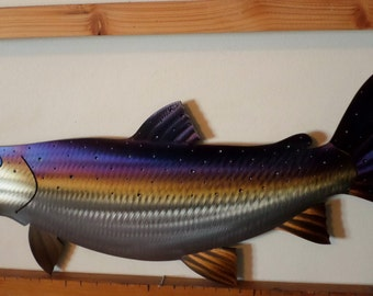 One of a kind Hand-Made,Hand-Cut,Heat Treated/Torch Colored Salmon,Fish