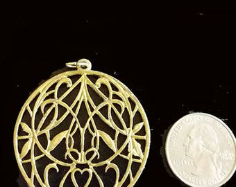 Gold Tone Filigree Pendant With Heart, NO SHIPPING CHARGES