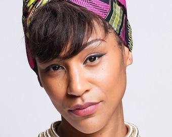 Yellow Black African Print head wrap | Ankara Wax print Head wrap | Print headscarf | African wax print material | Turban Scarf | Print 12