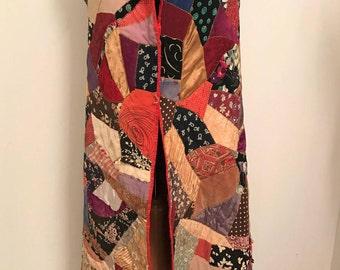 Antique Crazy Quilt Long Vest: Unfinished