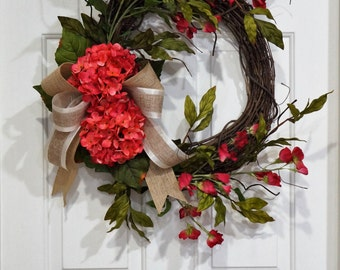 Rustic Grapevine Summer Wreath-Grapevine Wreath with Pink Hydrangea and Long Stem Fuchsia Sweet Pea-Housewarming Gift-Mother's Day Gift