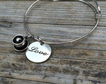 Coffee bracelet, Coffee Love Bracelet, Caffeine Bracelet, Charm Bangle, Charm bracelet