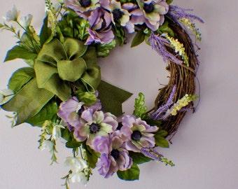Summer Wreaths, Spring Wreath for Front Door, Purple Wreath, Lavender Wreath, Front Door wreath, Mothers Day, Summer Wreath