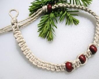 Brown Beaded Hemp Necklace, Hemp Necklace, Beaded Hemp, Unique Hemp Jewelry, Hemp Anklet, Hemp Bracelet, Mens Hemp Necklace