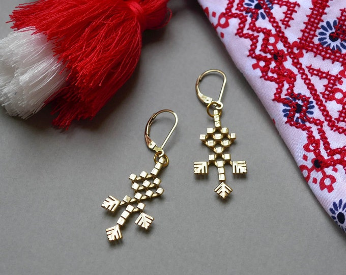 Featured listing image: 14 K Gold-plated Earrings 3Dprinted in BOHO style, Russian embroidery, ethnic accessories