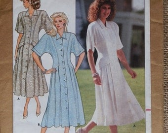 1980's BUTTERICK Ronnie Heller 4822 Semi Fitted Flared Dress Pattern UK Size 10 - 12 1987