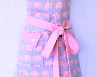 Cute Elephant Apron, Retro Apron, Womens Full Apron, Elephants, Coral, Polka Dots, KitschNStyle