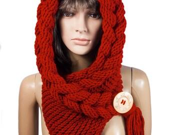 Hooded Scarf, Scarf, Hood, scarf hooded, Chunky scarf, Wool cowl | 3027