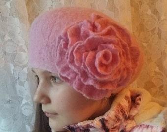 Felt hat.Felt wool hat .Wool hat.Women hat.Merino wool.Alpaka.Pink hat.Pink flower.Natural wool.Winter hat.Pink hat.Flower.Handmade 100%.