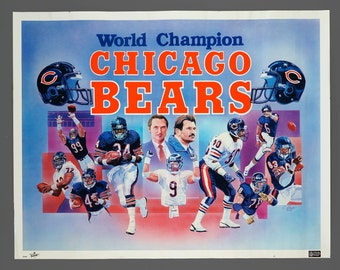 1986 World Champion Chicago Bears Poster 22 x 28 Size