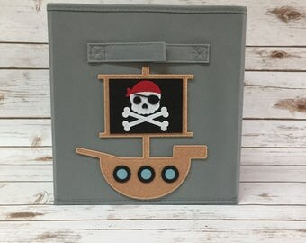 Kids Storage Bin, Kids Pirate Ship, Pirate Nursery, Storage Basket, Fabric  Storage