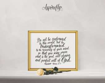 Bible Verse wall art - Romans 12 2 - printable scripture print Christian wall decor Christian gifts inspirational quote instant download art