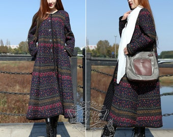 Anysize Retro floral linen&cotton warm padded Winter coat jacket plus size clothing plus size coat F114A