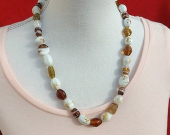 Brown and white necklace, summer necklace, resin necklace, autumn necklace, speckled necklace, brown jewellery