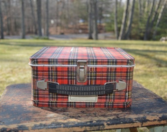 Red Plaid Vintage Lunchbox