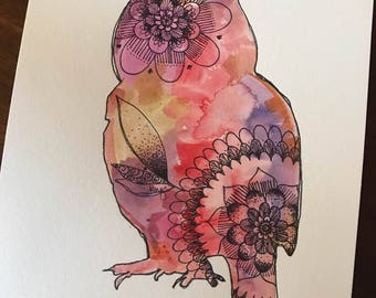 8x10 Watercolor & Ink Owl