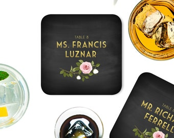 The FRANKIE . Place Card Coasters with Guest Names & Tables . Gold Black White Pink Rose Leaf Garland . Wedding Seating Escort Card 4 x 4 in