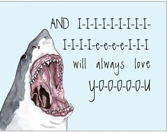 Funny shark POSTCARD, funny romantic I Love You card, angry shark card, shark watercolor, shark attack watercolor, awesome shark