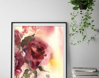 Art print of red rose, watercolor painting print, rose painting, wall art, watercolor print, floral art