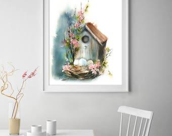 Bird house art print, Easter art, nest with eggs, watercolor painting art print, wall art