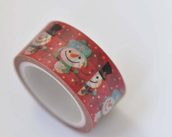 Snowman Winter Themed Washi Tape Japanese Masking Tape 20mm wide x 5m long No.12340