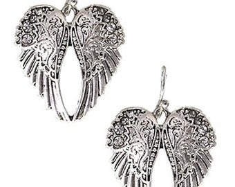 Silver Angel Wings Dangle Earrings