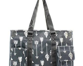 Arrow Print Medium Size Utility Tote Bag Gray and White