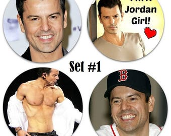 "Set of 4 Jordan Knight Large 2.25"" Pinback Buttons or Magnets - 3 Sets To Choose From Ship NKOTB New Kids On The Block"