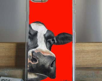 Retro Red Cow Phone Case by Grace Scott