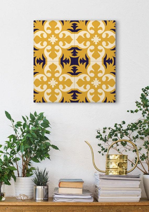 Vintage Canvas Print, Ceramic Tile Art, Geometric Pattern, Classic Designs, Modernist Decor, Yellow And Blue, Spanish Tiles, Wall Canvas