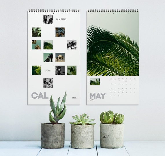 Wall Calendar, Palm Tree Calendar 2017, Tropical Calendar, Nature Photography, Minimalist Calendar, Wall Decor, Office Decor