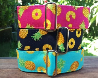"Martingale Collar - Whippet, Greyhound, small to medium dog - 1.5"" and 2"" - Pineapple Summer - Navy, Pink, Azure, Purple"