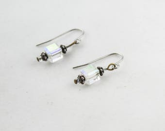 Vintage Silver Tone Clear Lucite Cube Dangle Earrings