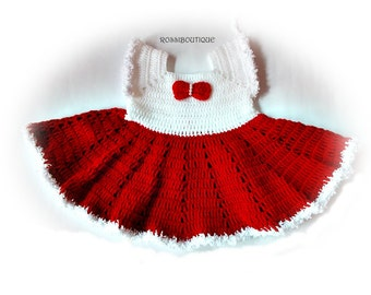 Baby Christmas dress, Crochet baby dress, Christmas baby dresses, Crochet baby, red white baby dress, Newborn dresses, baby Christmas