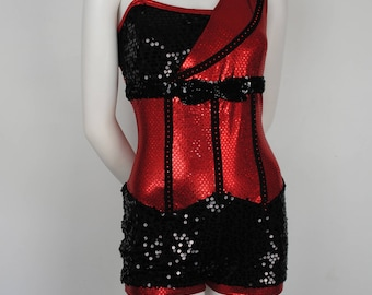 90s Red & Black Dance Leotard - 1990s Majorette Leotard / Uniform