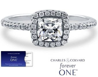 1.00 Carat Moissanite Cushion Cut Forever One (DEF) Halo Ring ( with Charles & Colvard authenticity card)