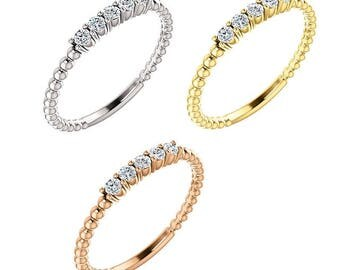 Stackable Natural Diamond and Designer Style Beaded Ring in 14K White, Yellow or Rose Gold