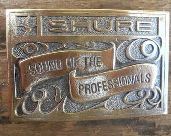 Vintage Belt Buckle / Wyoming Studio Art Works / Shure Bros / Shure Audio / Vintage Shure Belt Buckle / 70s Belt Buckle
